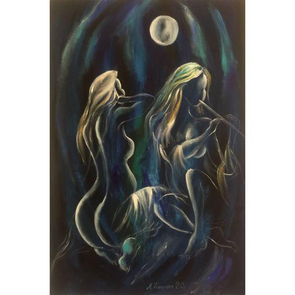 Pesma Mesečevog Povetarca ulje na platnu